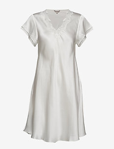 Pure Silk - Nightgown w.lace, short - OFF-WHITE