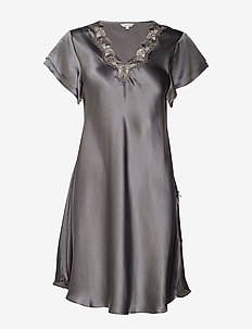 Pure Silk - Nightgown w.lace, short - OLIVE