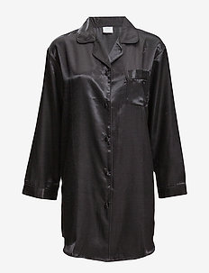 Satin Long Sleeve Nightshirt - BLACK