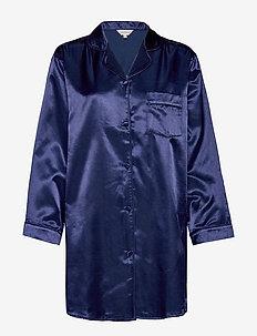 Satin Long Sleeve Nightshirt - NAVY