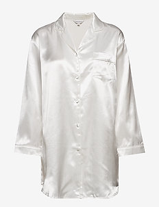 Satin Long Sleeve Nightshirt - overdeler - off-white