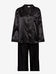 Satin Long Sleeve Pyjamas - BLACK