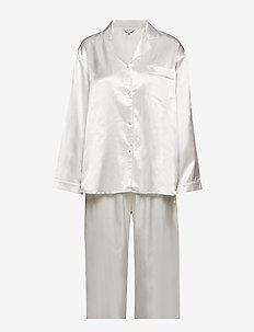 Satin Long Sleeve Pyjamas - OFF-WHITE