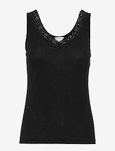 Bamboo Tank top with lace - BLACK