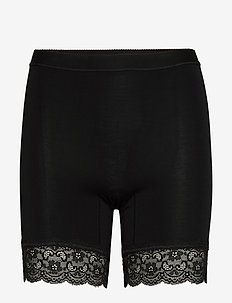 Short Bamboo leggings with lace - bottoms - black
