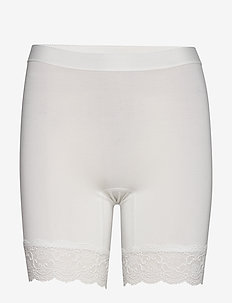 Short Bamboo leggings with lace - OFF-WHITE