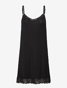Bamboo Lace Slip - bodies & slips - black