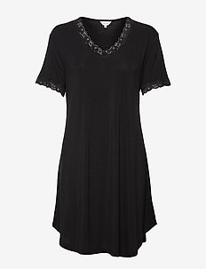 Bamboo Nightdress with short sleeve - nattkjoler - black