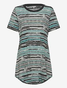 Soft Bamboo - Bigshirt w.short slee - overdeler - aqua stripe