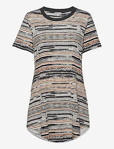 Soft Bamboo - Bigshirt w.short slee - overdeler - camel stripe