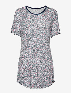 Bamboo Short-sleeve Nightdress - CORAL FLOWER
