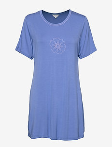 Bamboo Short-sleeve Nightdress - BLUE