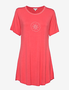 Bamboo Short-sleeve Nightdress - t-shirts - coral