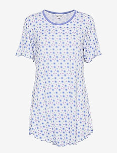 Bamboo Short-sleeve Nightdress - FLORAL BLUE