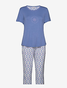 Bamboo Short-sleeve PJ with pirate - pyjamas - floral blue