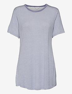 Bamboo Short-sleeve Nightdress - nachtjurken - denim pepita