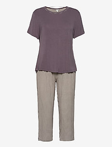 Bamboo Short-sleeve PJ with pirate - pyjama''s - mocca pepita