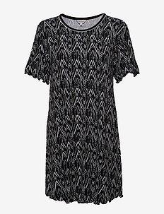 Bamboo Short Sleeve Nightdress - OLIVE ZIGZAG