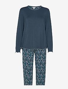 Bamboo Long Sleeve Pyjamas - PETROL ZIGZAG