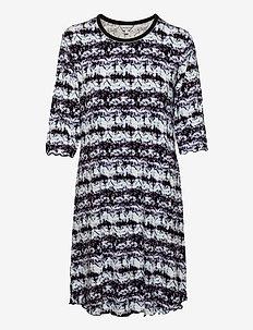 Bamboo 3/4-sleeve Nightdress - nattkjoler - black/aqua