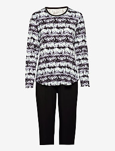 Bamboo Long Sleeve Pyjamas - pyjamas - black/aqua