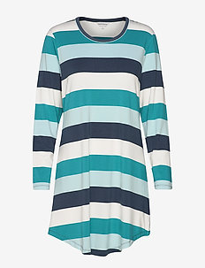 Bamboo Long Sleeve Nightdress - PETROL STRIPE