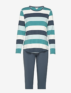 Bamboo Long Sleeve Pyjamas - PETROL STRIPE