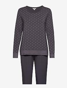 Bamboo Long Sleeve Pyjamas - pyjamas - grey/rose dots