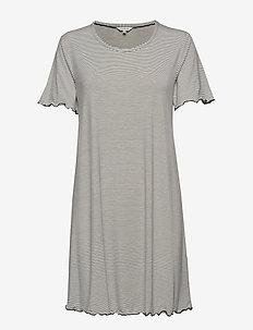 Bamboo Short Sleeve Nightdress - BLACK/WHITE STRIPE