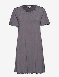 Bamboo Short Sleeve Nightdress - GREY/ROSE STRIPE