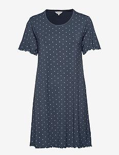 Bamboo Short Sleeve Nightdress - PETROL DOTS