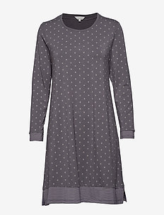Bamboo Long Sleeve Nightdress - GREY/ROSE DOTS
