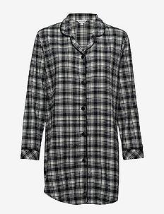 Cotton Flannel Nightshirt - OLIVE CHECKS