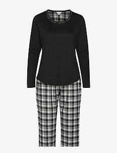 Cotton Flannel Pyjamas - OLIVE CHECKS