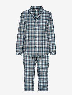 Cotton Flannel Pyjamas - PETROL CHECKS