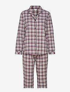 Cotton Flannel Pyjamas - WINE CHECKS