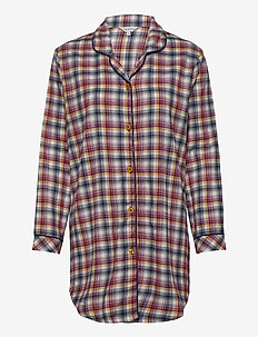 Cotton Flannel Nightshirt - pyjamas - indigo/amber
