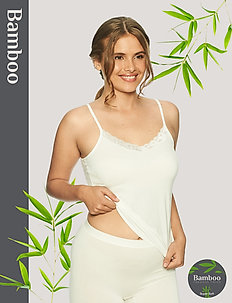 Bamboo Camisole with lace - topy bez rękawów - off-white