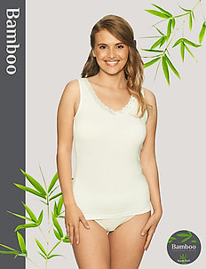 Bamboo Tank top with lace - hauts sans manches - off-white