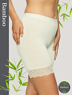 Short Bamboo leggings with lace - bottoms - off-white