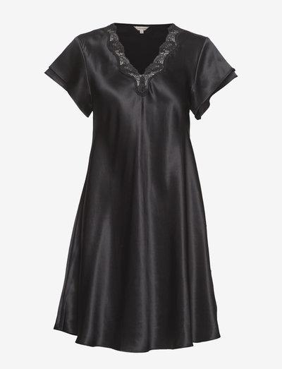 Pure Silk - Nightgown w.lace, short - nachtjurken - black