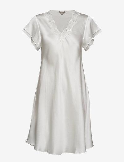 Pure Silk - Nightgown w.lace, short - nachtjurken - off-white