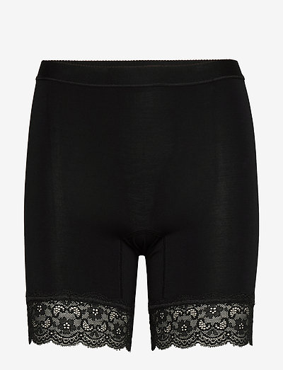 Bamboo - Short leggings with lace - bottoms - black