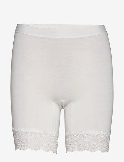 Bamboo - Short leggings with lace - bottoms - off-white