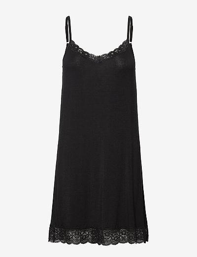 Bamboo - Slip with lace - bodies & onderjurken - black