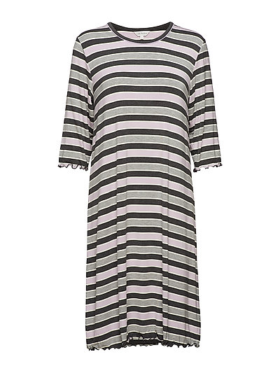Bamboo 3/4-sleeve Nightdress - LAVENDER STRIPE