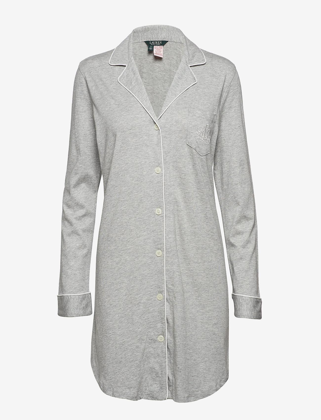 Lauren Ralph Lauren Homewear - LRL HAMMOND KNIT COLLAR SLEEPSHIRT - nachtjurken - grey heather - 0