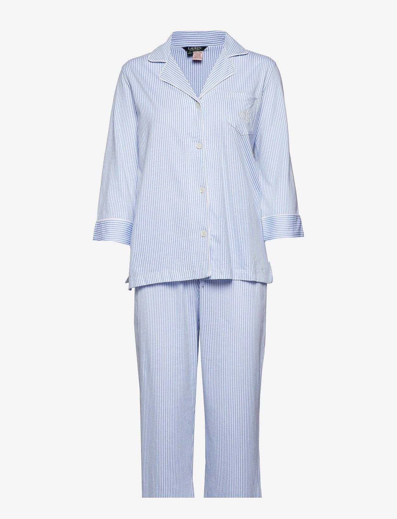 Lauren Ralph Lauren Homewear - LRL HERITAGE 3/4 SL CLASSIC NOTCH PJ SET - pyjama''s - french blue/white stripe - 0