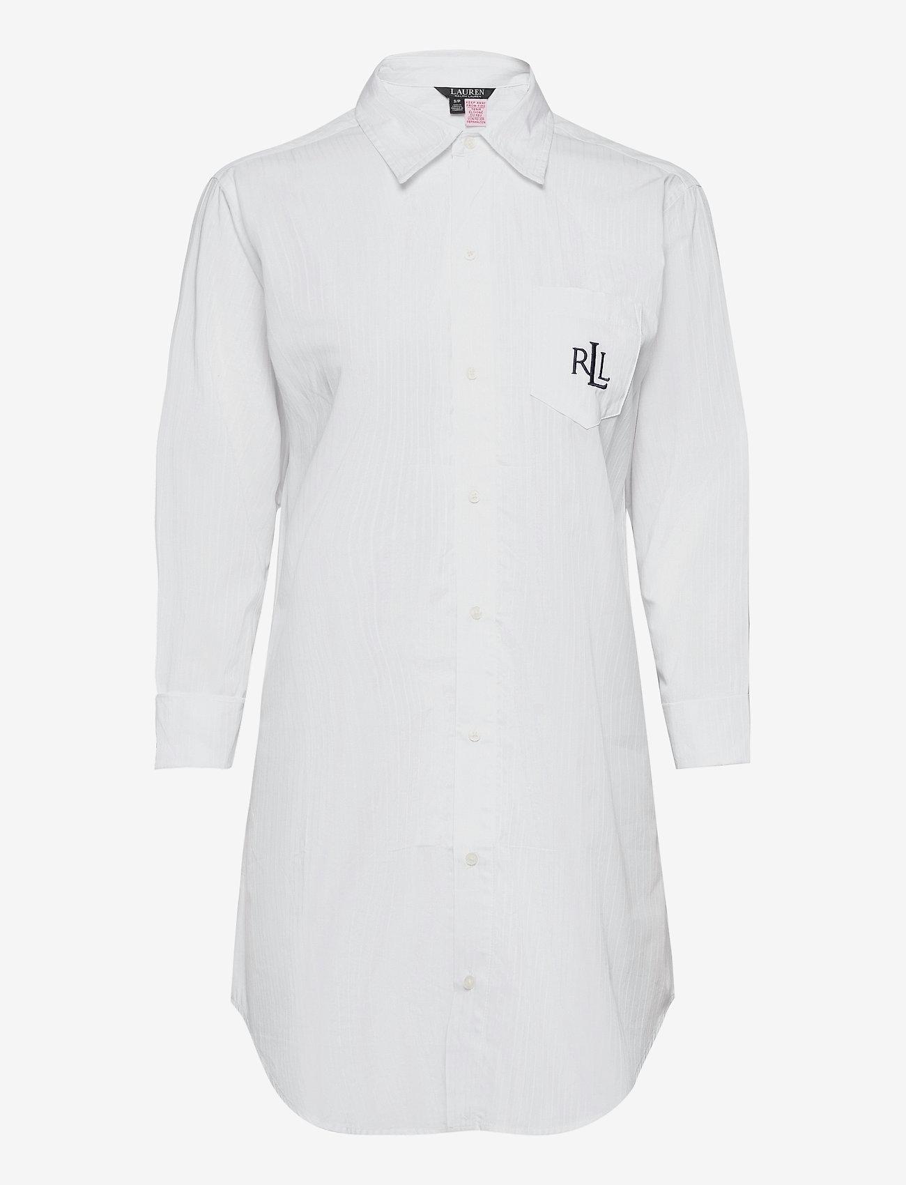 Lauren Ralph Lauren Homewear - LRL HERITAGE ESS. 3/4 SL SLEEPSHIRT - overdele - white - 0