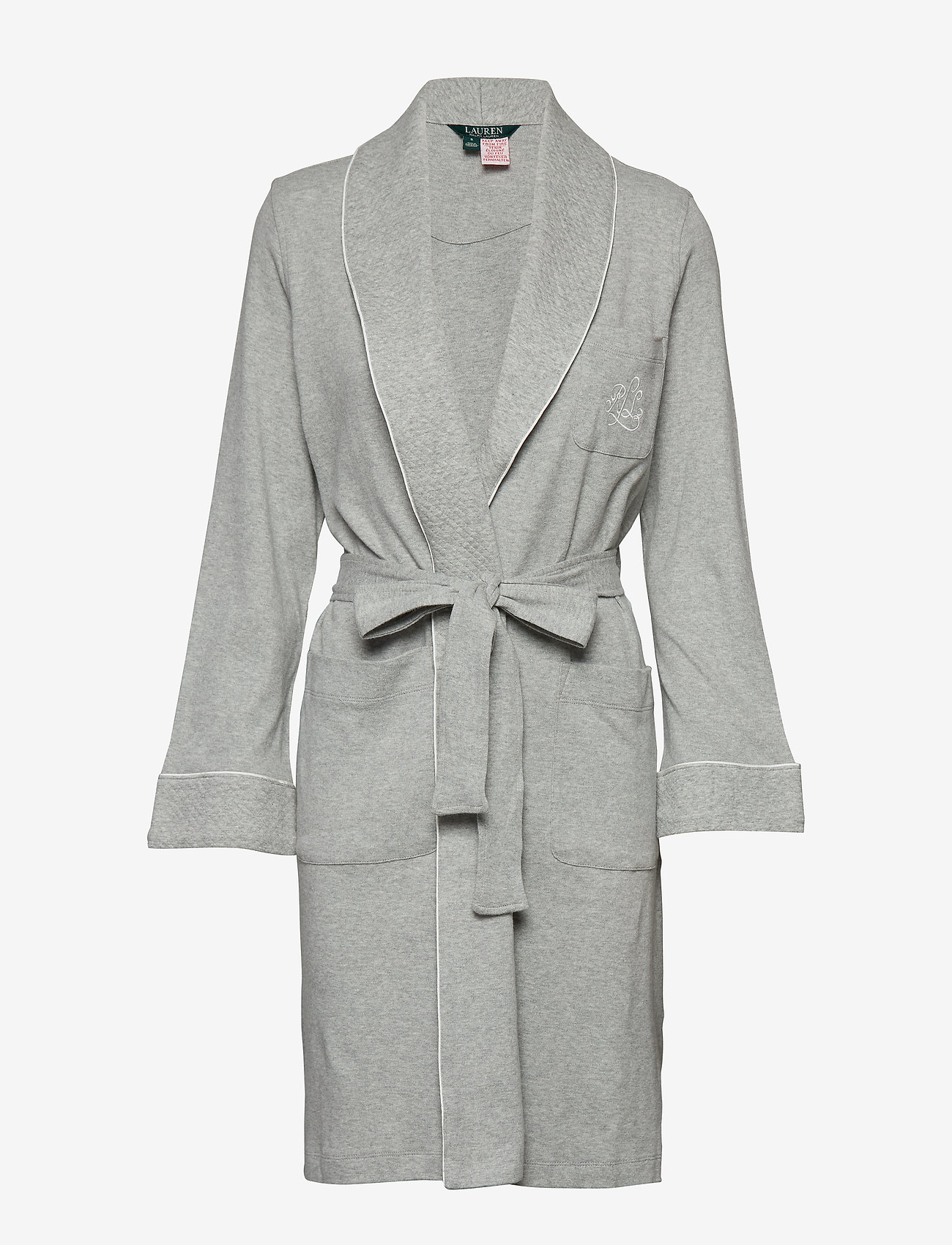 Lauren Ralph Lauren Homewear - LRL ESSENTIAL QUILTED COLLAR ROBE - pegnoirs - grey heather - 0